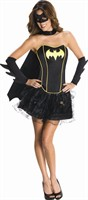 Batgirl corset dress adult (corset, mini skirt, cape, sleeves, mask)