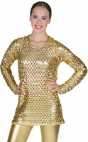 Disco top goud stretch