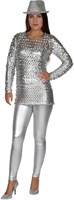 Disco-Bluse silber Stretch