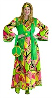 Flower Power Hippie Kleid (Kleid, Weste, Stirnband)