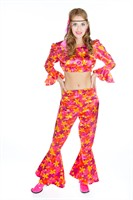 Flower Power woman (trousers/blouse/headband) belly free