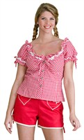 Tirolerblouse oktoberfeest rood/wit