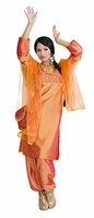 Bollywood Dame Orange (Kleid,Hose,Schal)