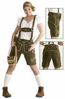 Leather pants olive green Oktoberfest (real leather) with embroidery