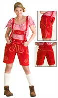Leather pants woman red Oktoberfest (real leather with embroidery)