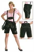 Leather pants woman Oktoberfest black, real leather with embroidery