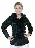 Blouse with frills black lady