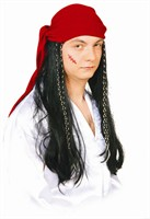 Wig black pirate Caribic