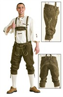 Leather pants olive green Oktoberfest (real leather with embroidery)