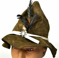 Tyrolean hat Oktoberfest luxury olive green (suede)