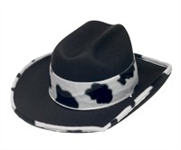 Hat cowboy cow black/white,  (H=9 cm)size 59