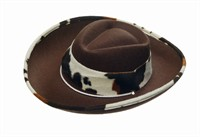 Hat cowboy cow brown/white,(H=9 cm)size 59