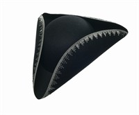 Three-cornered hat black with silver band,one size
