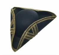 Three-cornered hat  de luxe black/gold, one size
