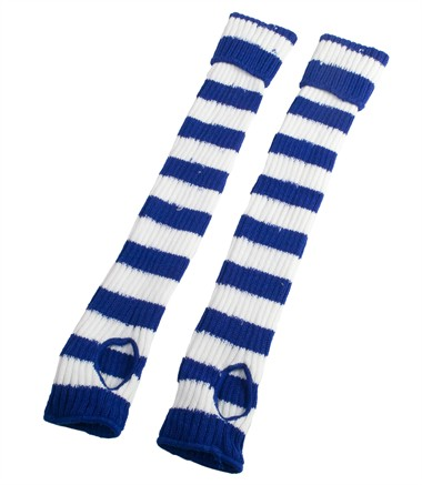 Legwarmers with hole, blue/white (L=50 cm)