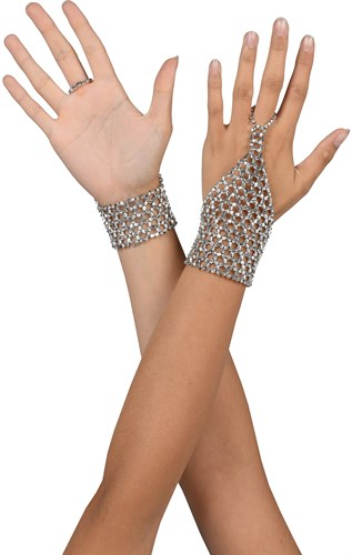 Gloves made of silver beads