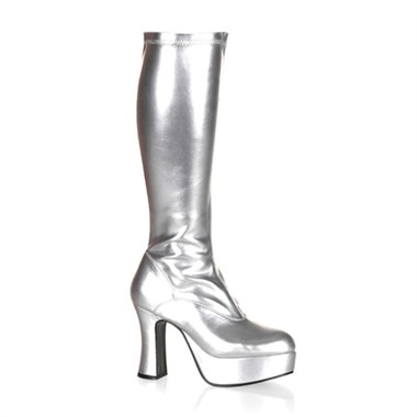 Stretch boots exotic silver