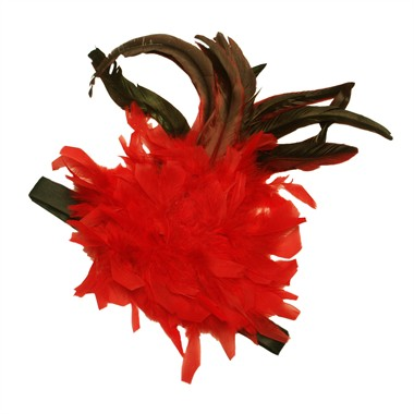 Headband with boa/feather red/black (H=33 cm)