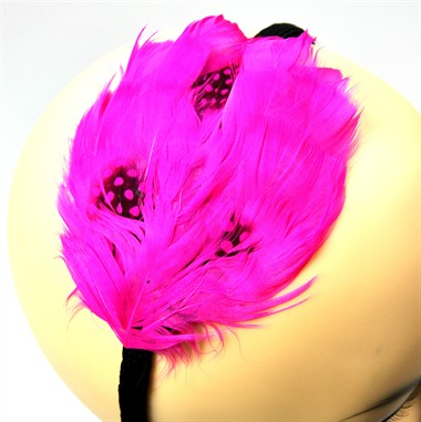 Hair circlet feather Fluor Pink