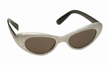 Glitter-brille oval Silber