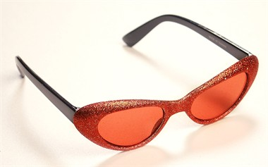 Glitter-brille oval Rot
