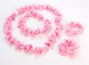 Hawai Kette A+S-Band rosa/weiss