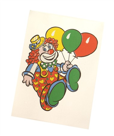 Raamsticker clown 3 ballons (20x15 cm)