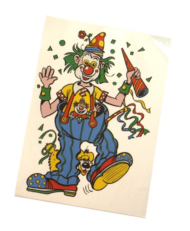 Fensterkleber Clown Hund