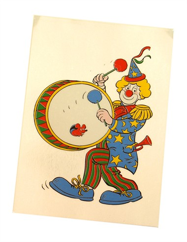 Fensterkleber Clown Tambour