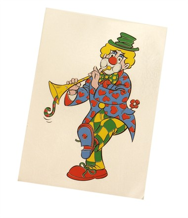 Fensterkleber Clown Trompete