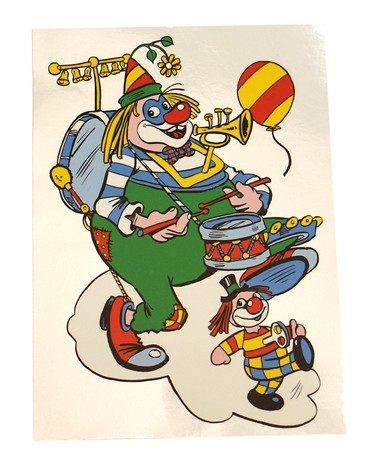 Raamsticker 2 clowns (33x22 cm)
