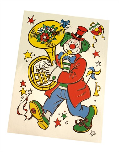 Raamsticker clown trombone (46x32 cm)