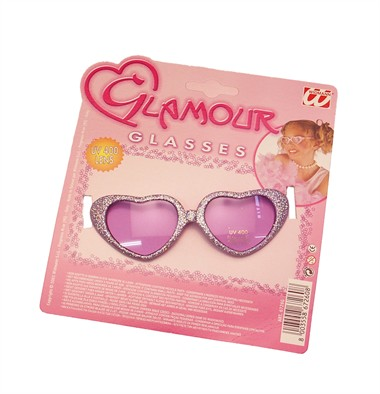 Glamour kinderbril hart paars
