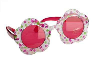Brille Hippie Flower Power rot
