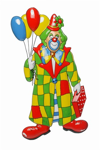 Muurdecoratie clown+ballon (60x32 cm)