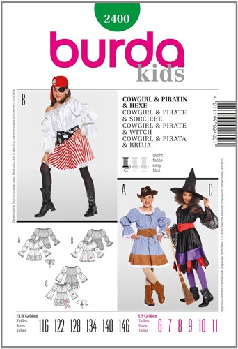 Burda patroon: cowgirl/piraat/heks (kind)