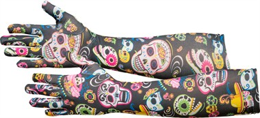 Handschuhe Day of the Dead 40cm Halloween