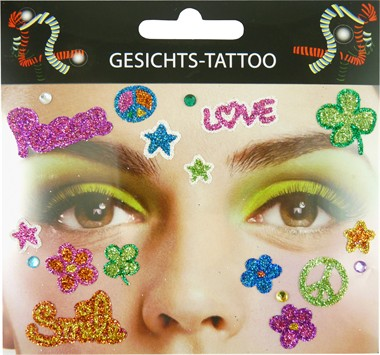 Sticker gezicht flower-power