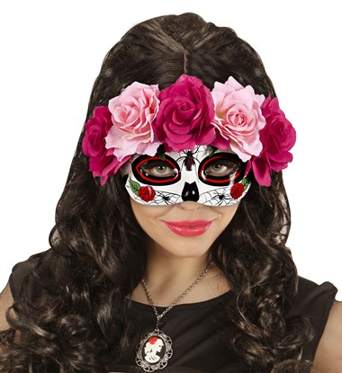 Augenmaske Day of the Dead mit Rosen