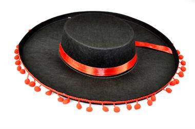 hut spanierin pompons schwarz h 9 cm gr 59. Black Bedroom Furniture Sets. Home Design Ideas