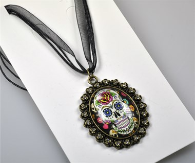 Ketting Day of the Dead met steentjes