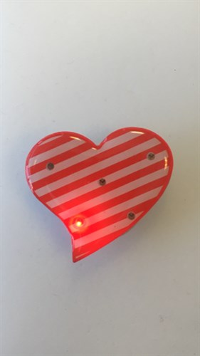 Blinkie heart red/white striped