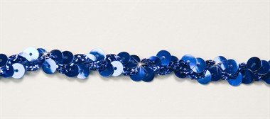 Band pailletten blauw 2-rijen 10mm breed