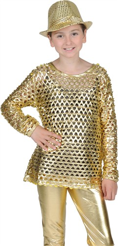 Disco-Bluse gold Stretch