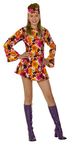Flower Power Hippie Kleid Fever (2-tlg) Kleid, Stirnband