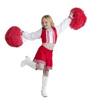 Cheerleader rood/wit (rok/blouse)