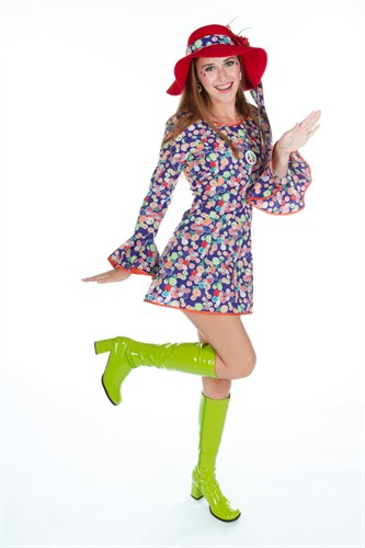 Flower Power Kleid Baumwolle (Kleid,Stirnband)