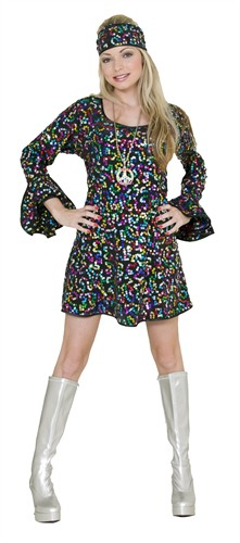 Disco Kleid Hologram  (Kleid, Stirnband)