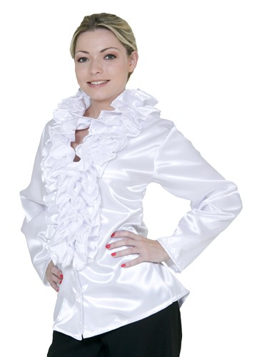 Blouse with frills white lady