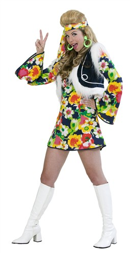Hippie-Girl Flower Power 3-tlg (Kleid,Weste,Stirnband)